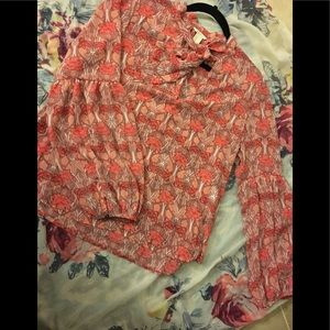 Coral floral printed blouse